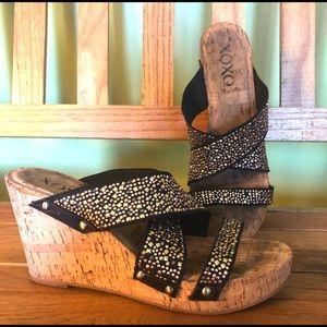 XOXO cork wedge shoe black silver stud it slide